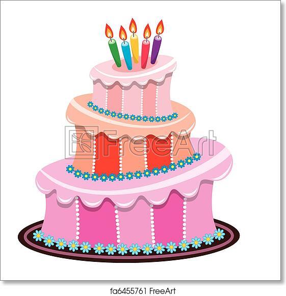 Phenomenal Free Art Print Of Vector Big Birthday Cake With Burning Candles Funny Birthday Cards Online Alyptdamsfinfo
