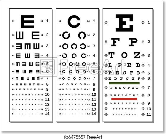 Free Art Print Of Eye Chart Layered Vector Illustration Of Three