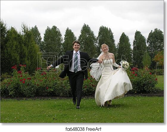 Surprising Free Art Print Of Bride And Groom Running Download Free Architecture Designs Scobabritishbridgeorg