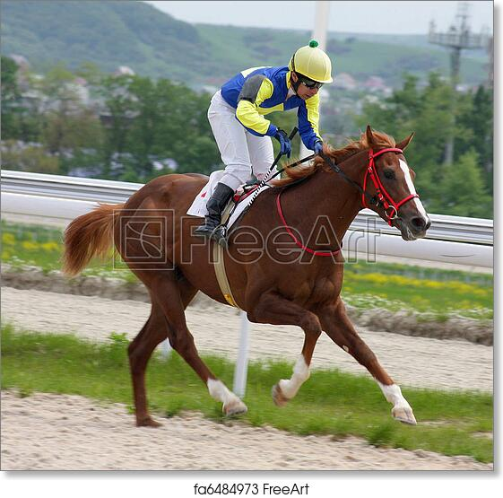 Free Art Print Of Horse Jockey Running At Race