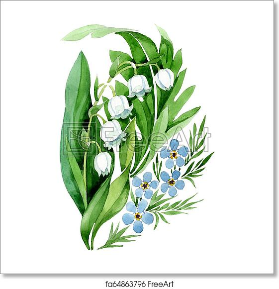 Free Art Print Of Lily Of The Valley Bouquet Flower Watercolor