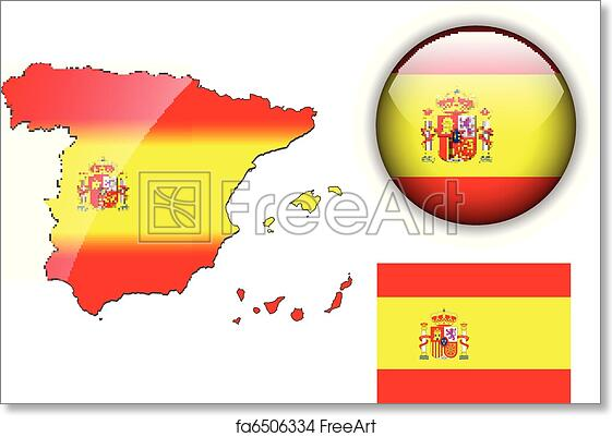 graphic relating to Printable Spanish Flag titled Free of charge artwork print of Spain flag, map and shiny upon.