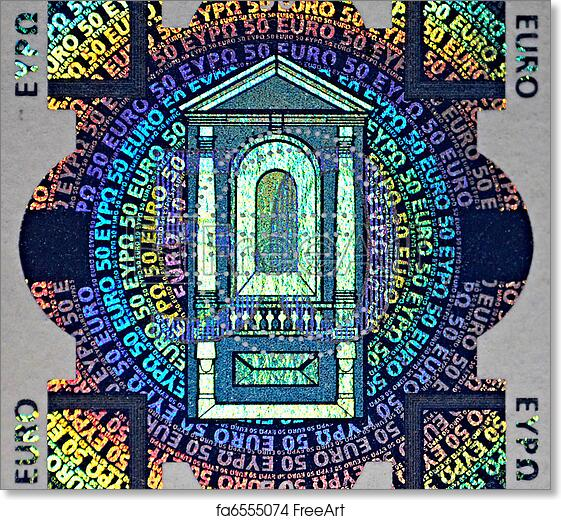 photograph relating to Printable Hologram called Free of charge artwork print of Holographic patch of 50 Euro banknote