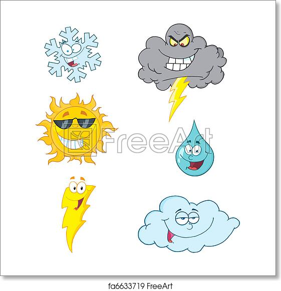 Free Art Print Of Weather Characters Weather Symbols Cartoon