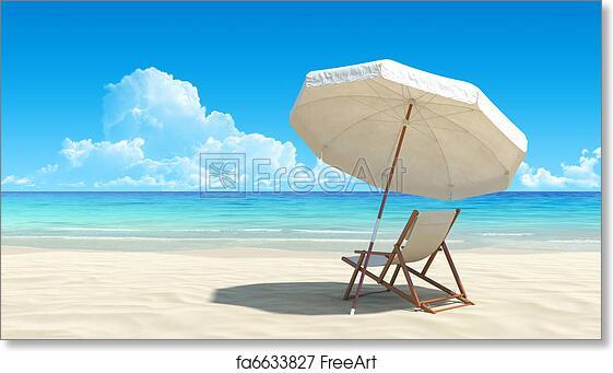 Free Art Print Of Beach Chair And Umbrella On Idyllic Tropical Sand Beach