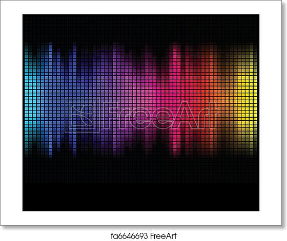 Free Art Print Of Multicolor Abstract Lights Disco Background Square Pixel Mosaic
