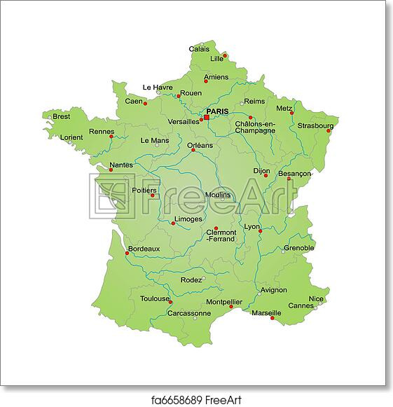Map Of France To Print.Free Art Print Of Map France