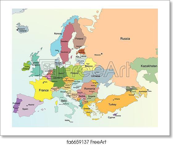 Free art print of Europe map