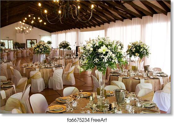 Free Art Print Of Indoors Wedding Reception Venue With Decor