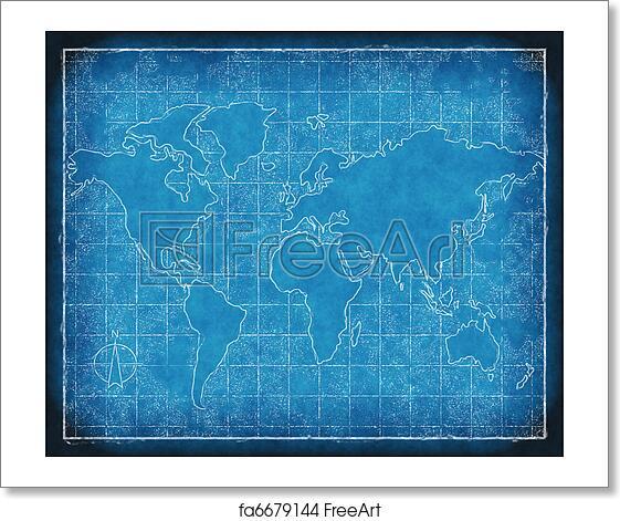 Free art print of map of the world blueprint an old map of world on free art print of map of the world blueprint malvernweather Choice Image