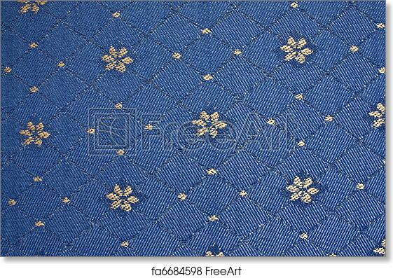Free Art Print Of Old Blue Upholstery Fabric With Yellow Flowers