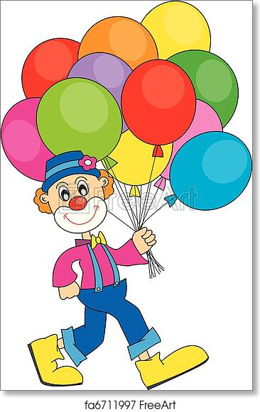 Clowns And Balloons Kids Room Wall Picture Art Print