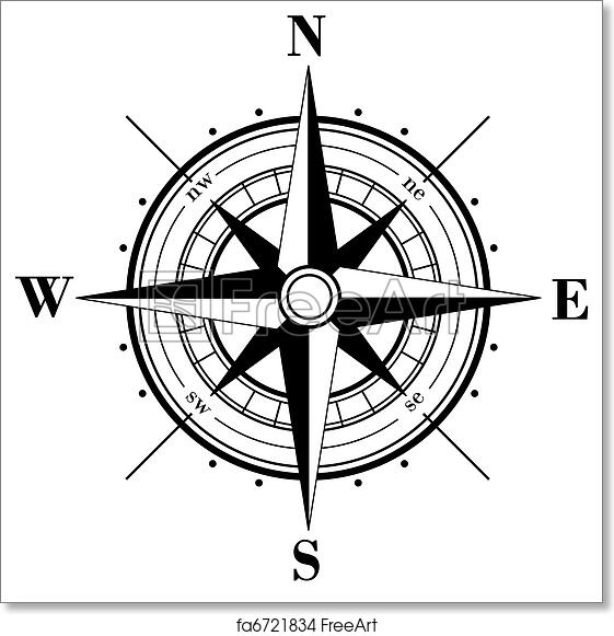 photograph relating to Printable Compass referred to as Free of charge artwork print of Comp Rose