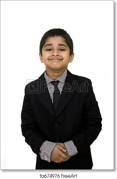 Free Art Print Of Formally Dressed A Handsome Indian Kid Formally