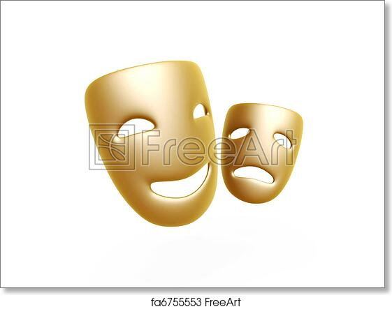 free art print of comedy and tragedy masks gold comedy and tragedy