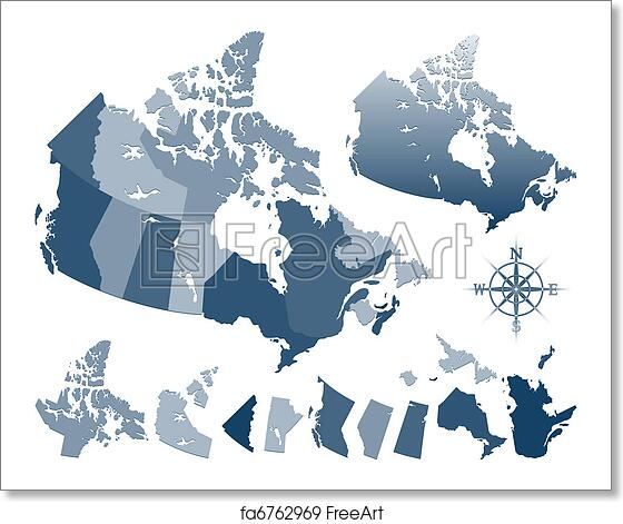 Map Of Canada Silhouette.Free Art Print Of Canada Map And Provinces
