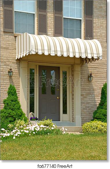 Free Art Print Of Front Door Awning Residential Two Story Brick