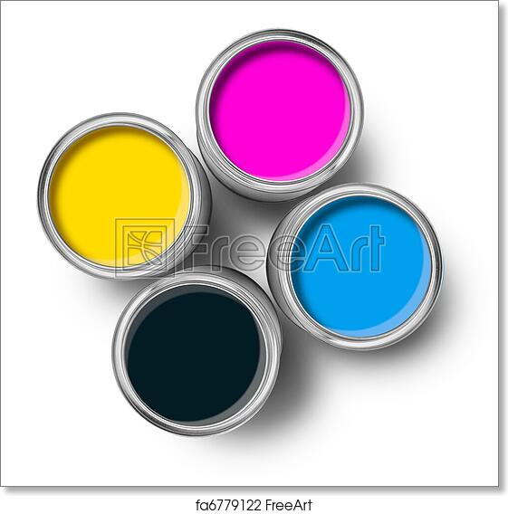 Free art print of Cmyk color paint tin cans top