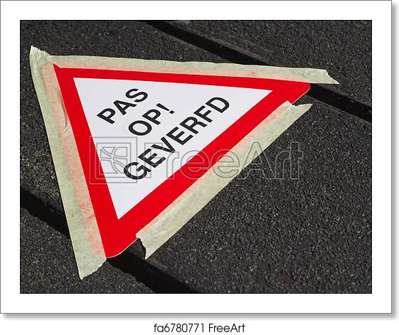 Free Art Print Of Wet Paint Sign In Dutch