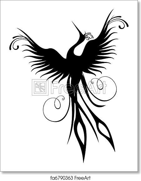 free art print of phoenix bird figure isolated black phoenix bird