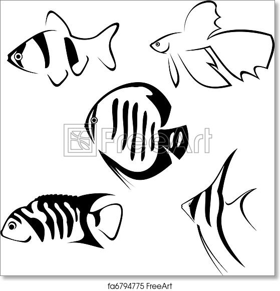 Free Art Print Of Aquarium Fish Line Drawing Aquarium Fish Line