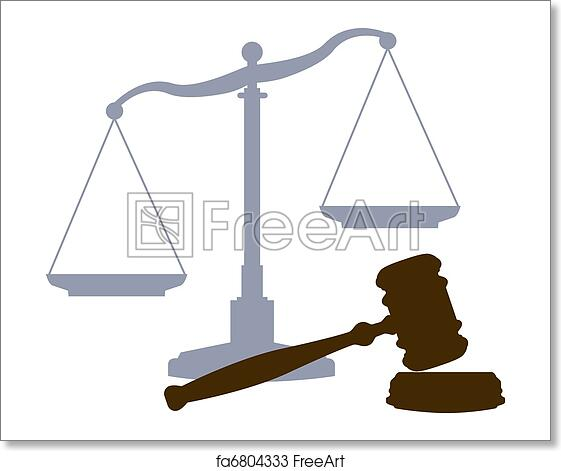 Free Art Print Of Scales Gavel Legal Justice Court System Symbols