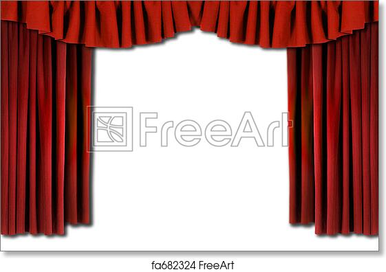 free art print of red horozontal draped theatre curtains red
