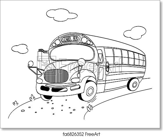 Free art print of School Bus coloring page. Coloring page of a ...