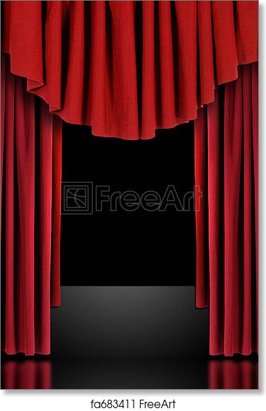 Free Art Print Of Red Theatre Stage Draped Curtains