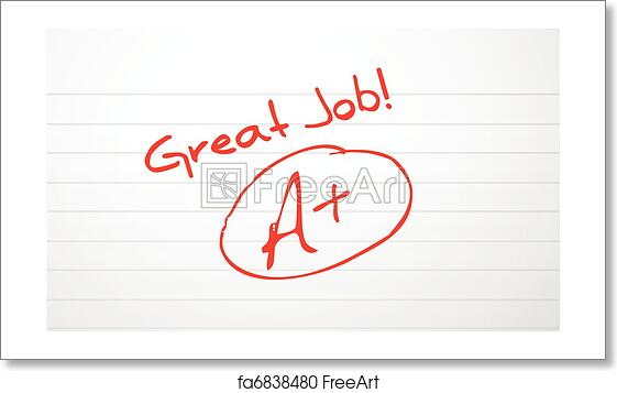 free art print of good work paper grading in red ink freeart