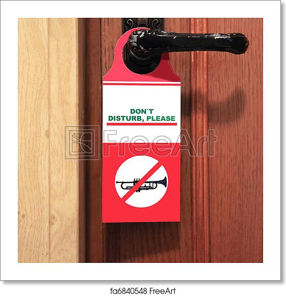 free art print of do not disturb sign on the door handle do not