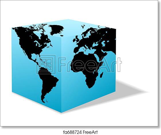 Square Earth Map.Free Art Print Of Square Earth Globe Box Map Of America Europe