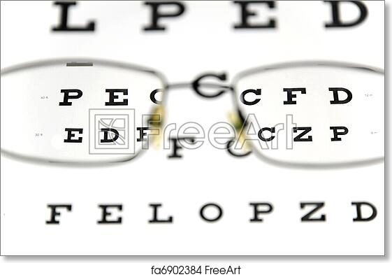 Free Art Print Of Eyeglasses And Eye Test Chart Eyeglasses And