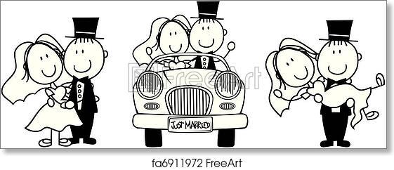 Free art print of Wedding cartoon invitation. Set of
