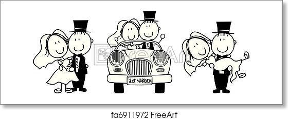 free art print of wedding cartoon invitation set of isolated