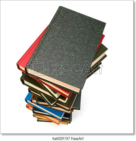 free art print of book stack book stack isolated on white