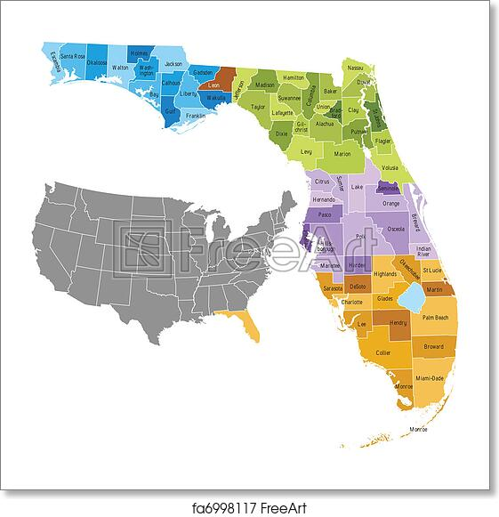 Florida By County Map.Free Art Print Of Florida Counties