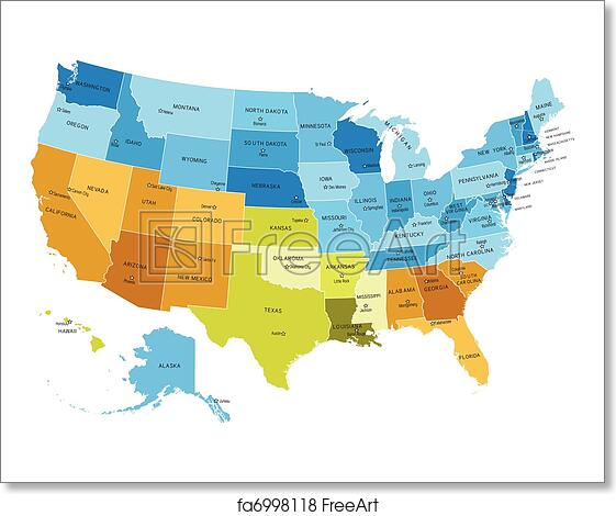 Free art print of USA map with names of states. USA states map with ...