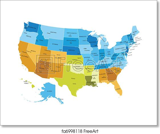 Free Art Print Of USA Map With Names Of States USA States Map - Free usa map