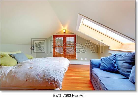 Free art print of Attic bedroom with low ceiling. Attic bedroom with Decorating With Vaulted Ceilings In Attic Bedroom Html on
