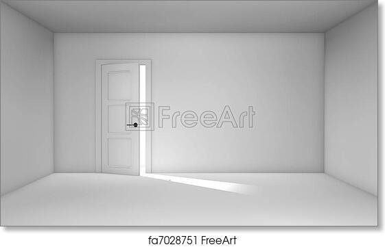 Free art print of Ajar door  sc 1 st  FreeArt & Free art print of Ajar door . Ajar door in empty white room. Three ...