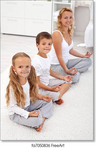 Free art print of Kids doing yoga relaxation with their mother
