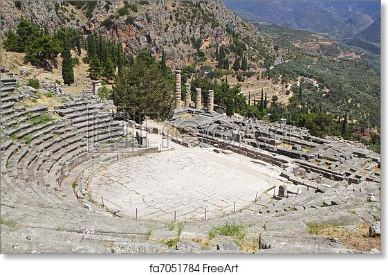 Free art print of Temple of Apollo and the theater at Delphi