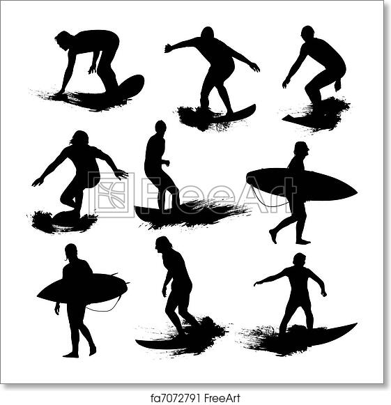 Free Art Print Of Surf Silhouettes