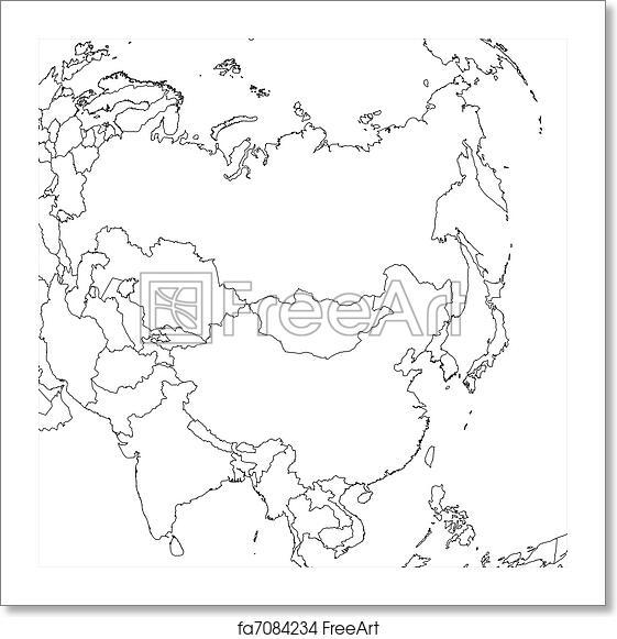 Free art print of Blank Asia Map