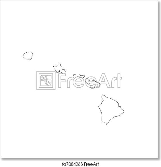 graphic about Printable Map of Hawaii named Free of charge artwork print of Blank Hawaii Map