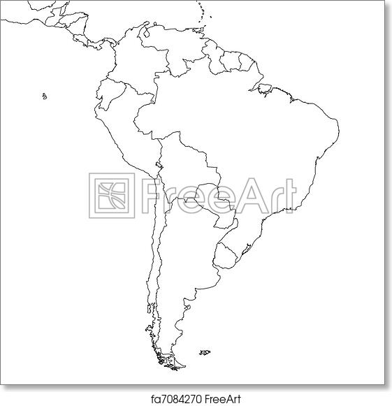 image about Printable Map of South America referred to as Absolutely free artwork print of Blank South The usa Map