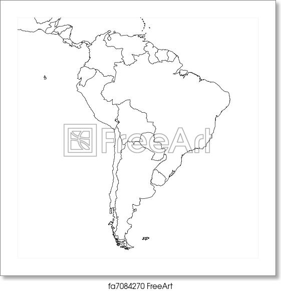 Free art print of Blank South America Map