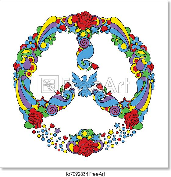 Free Art Print Of Peace Symbol With Flowers And Star Peace Symbol