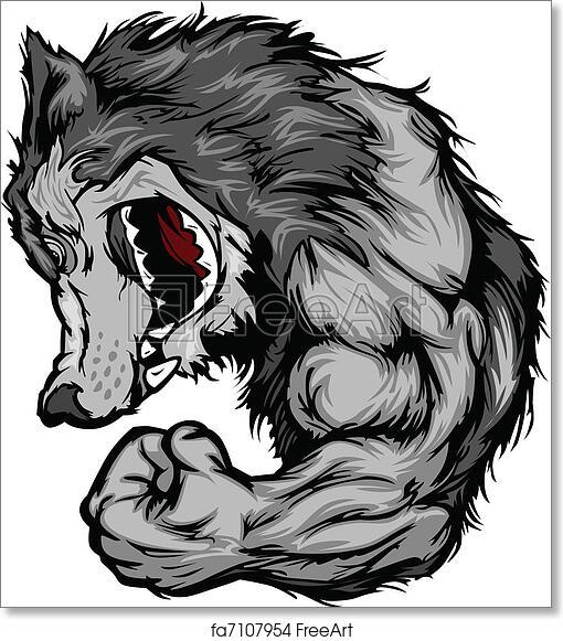 free art print of wolf mascot flexing arm cartoon. cartoon image of